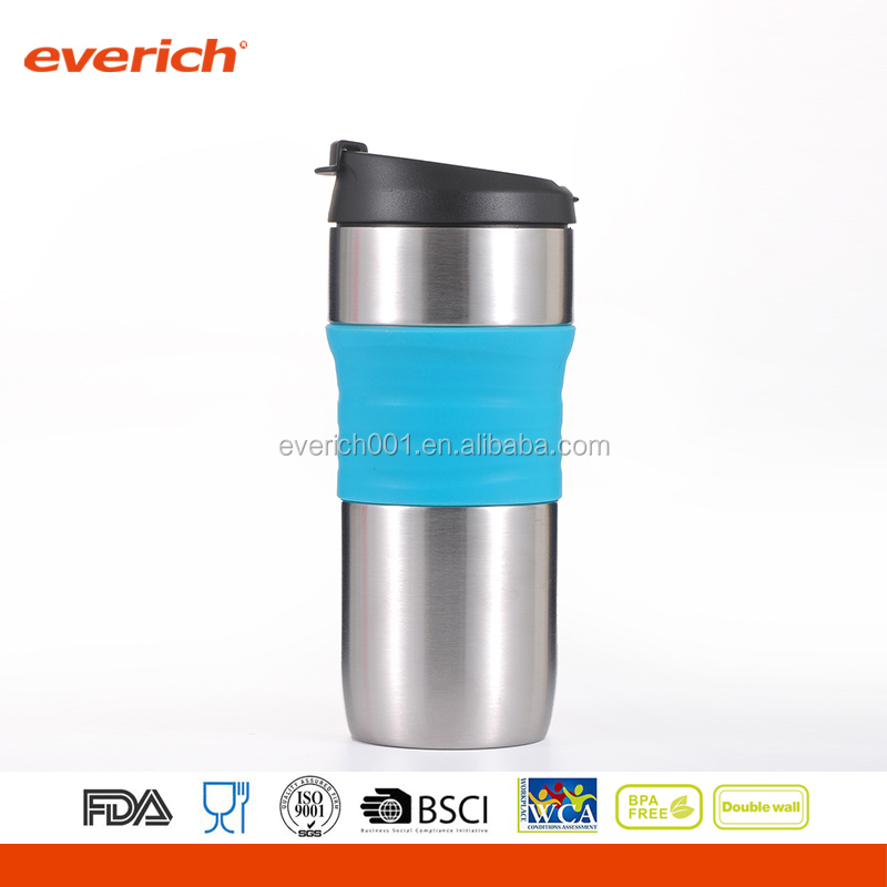 Everich 16oz double wall stainless steel vacuum color changing beer mug with flip lid