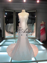 Robe Mariage Spaghetti Strap Pearl Satin Bridal Changing Dresses/Lace Appliqued Back Guangzhou Alibaba Wedding Dress