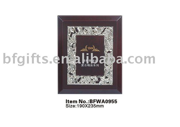 Wooden trophy award base with plastic frame,carving plaque:BFWA0955