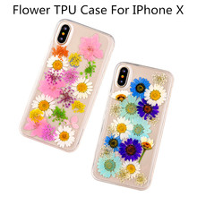 Ultra Slim Clear Phone Case For iphone X Case,Fashion Real Dried Flower Cases Lovley Floral Back Cover For iphone X