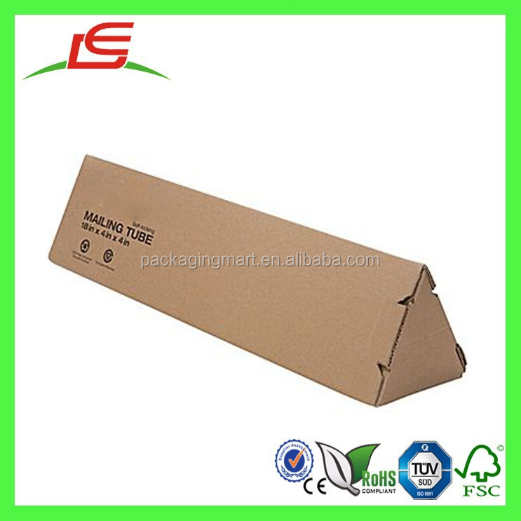 Q1494 Wholesale Eco-Friendly Corrugated Recyclable Mailing Triangular Tube, Triangle Mailing Shipping Box