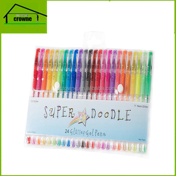 High Quality colored 24 colour glitter gel pen set/gel ink pen set with PVC box