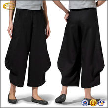 OEM wholesale women's Elastic pull-on waist styling Front zip and hook closure Linen Flared Leg tactical palazzo pants
