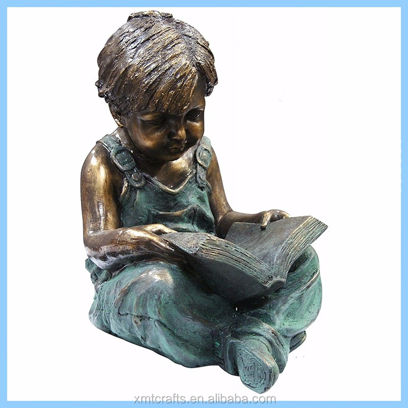 Hotsale Pretty Large Outdoor Garden Bronze-like Resin Reading Boy And Girl Sculptures, Children Statues For Sale