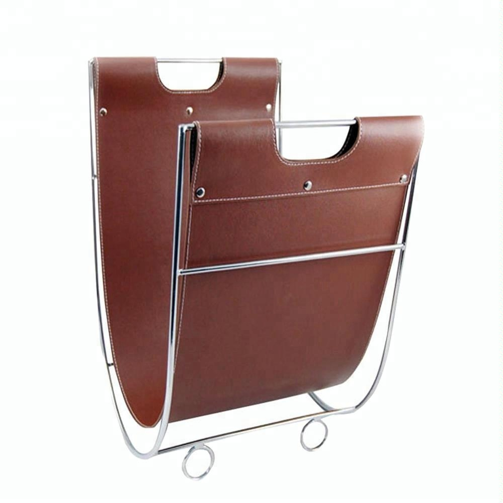 Portable home goods free standing retro decorative modern metal stylish bathroom/horizontal leather magazine rack