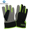 Black polyester back with PU material hemming hook&loop closure Grey super fabric working glove