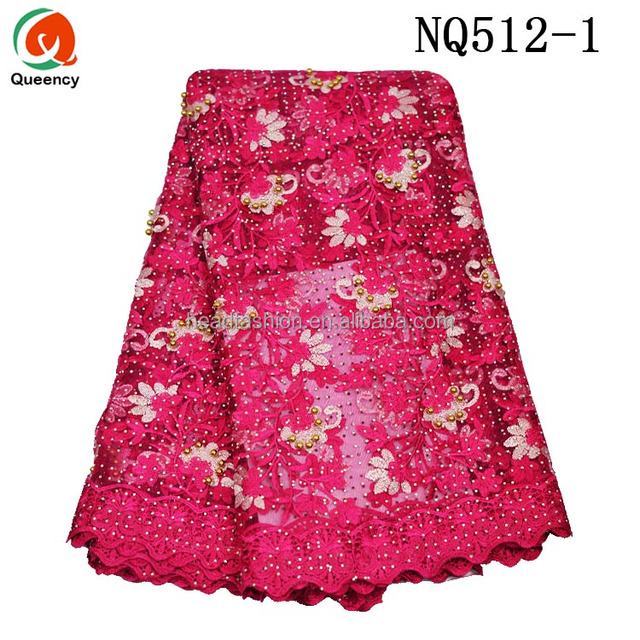Queency Popular Pattern Cotton Floral Embroidery Lace Silk Net Fabric With Beads Design