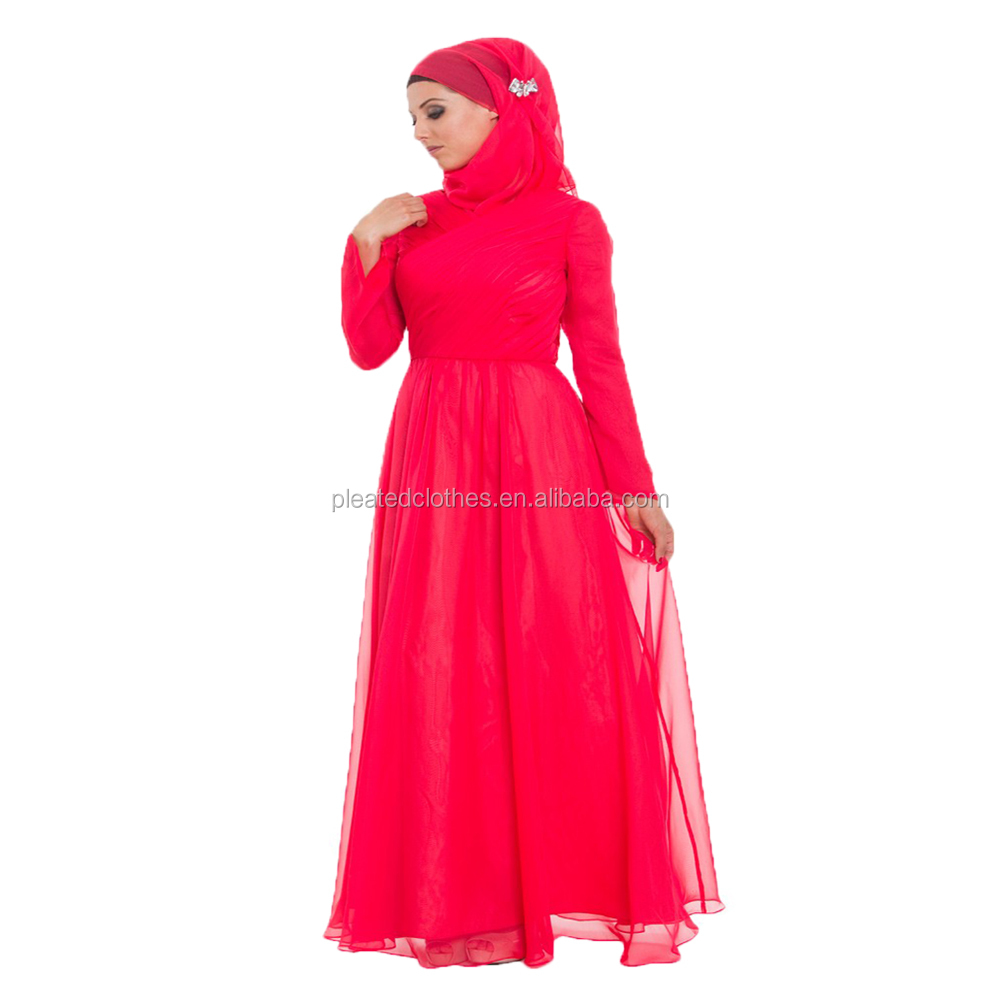 Abayas design long sleeve muslim evening dress with lace sleeve for Islamism