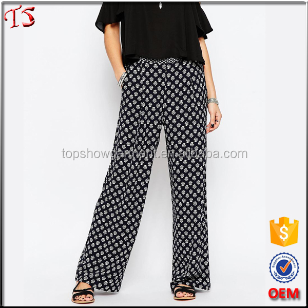 2016 Hot selling women clothing crepe palazzo pants women wide leg pants in all over print