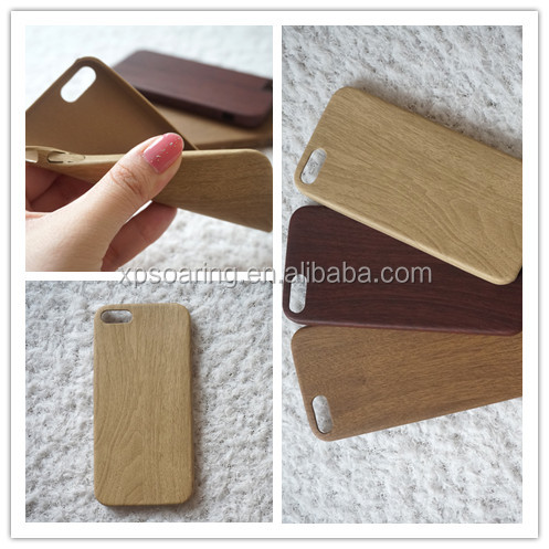 Ultra thin slim PU leather wood grain phone back cover case for iphone 5 5s