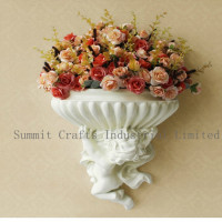 Custom Resin cute angel wall mounted flower pot