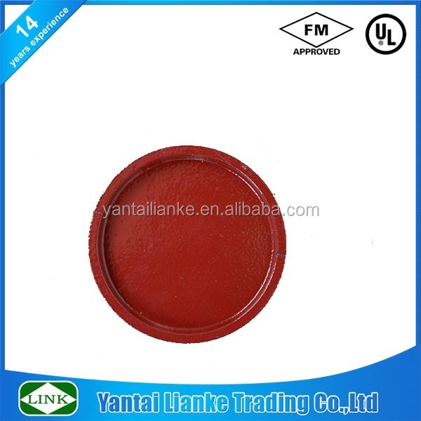 FM/UL 3 inch grooved ductile iron short pattern end cap painted