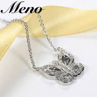 Low MOQ fashion crystal butterfly necklace jewelries rhodium plated Chain Pendant necklace women jewelry