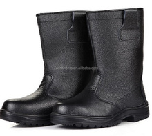 Heavy duty black industrial work time safety boots with steel toes