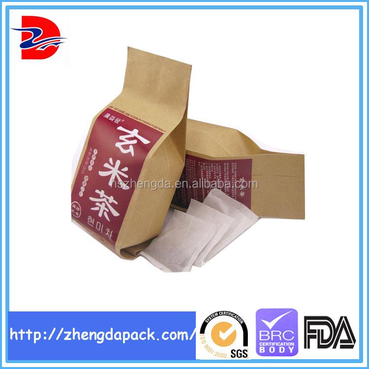 Leak Sealing Kraft Bag : Paper bag kraft side gusset seal plastic packaging fro