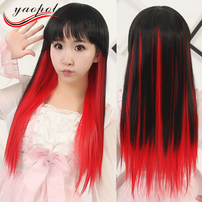 Student evening party cosplay wig long straight synthetic hair Black with highlights red colorful hair wigs
