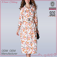 New Elegant fashion charming knee length muslim ladies printed long sleeve maxi dress with vent and belt