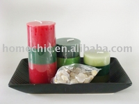 christmas ceramic pillar candle gift set