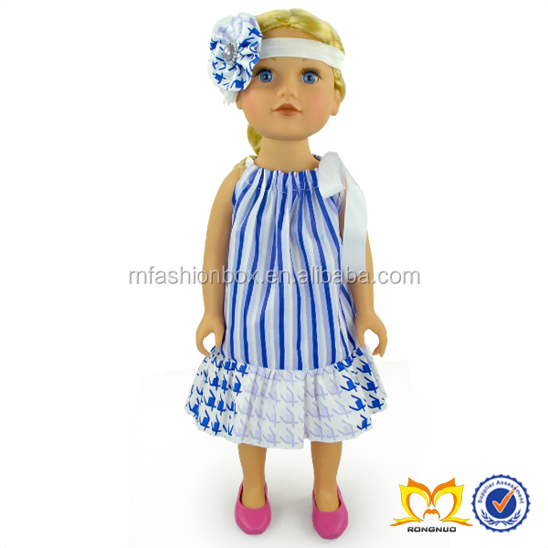 trendy stripe doll baby dress accessories american model