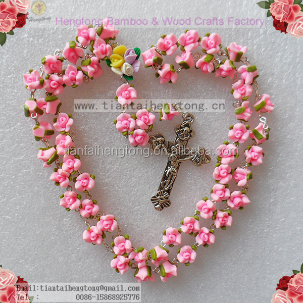 Handmade catholic Rosary necklace beautiful Pink Soft Cerami beads rose rosary catholic crucifix Necklace