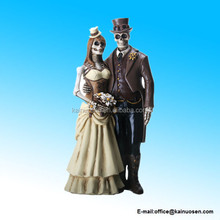 polyresin Love Never Dies Steampunk Skeleton Wedding Couple Statue Figurine
