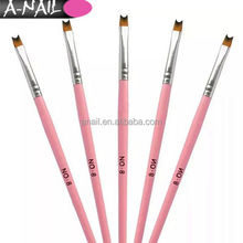 Professional #8 Pink Moon Shape French Smile Line Nail Brush Acrylic UV Gel Nails Art Painting Drawing Pen