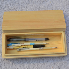 Custom natural color wood craft rectangle shaped wooden school pencil case