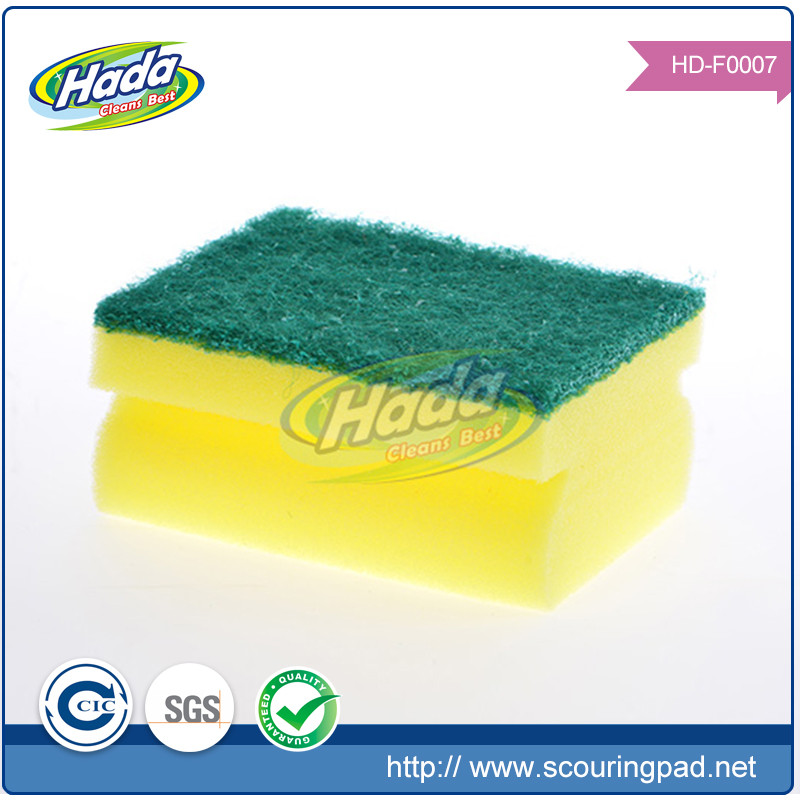 Kitchen housewife helper fast clean water absorb sponge scrubber, yellow foam sponge scourer