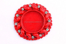 Wholesale resin red Pendant Resin Base Setting,Bulk round inner size 25mm cabochon !!!