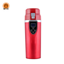 Electric Digital Heated Temperature Control Thermos Car Travel Mug with 12 V / 24V Car Charger Plug
