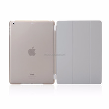 Detachable Rubberized Hard Smart Cover And Back Case for iPad 2 3 4 Air Mini Pro case, silver/grey
