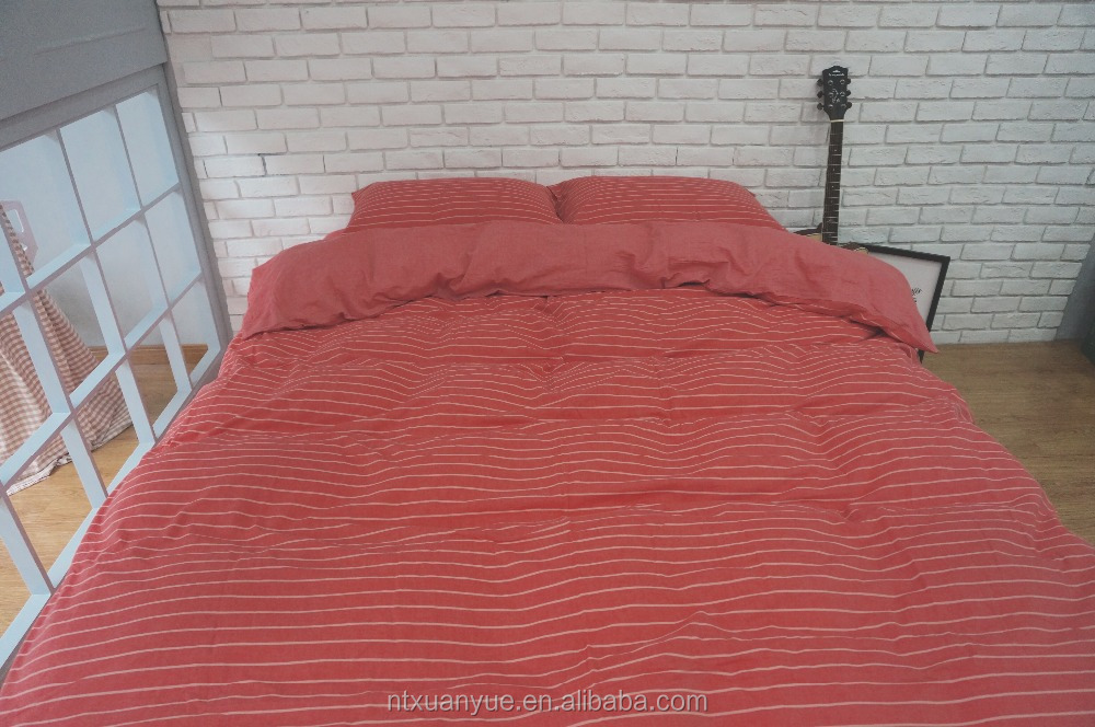 Bright color 100% cotton 4 pcs stripe bed sheet set