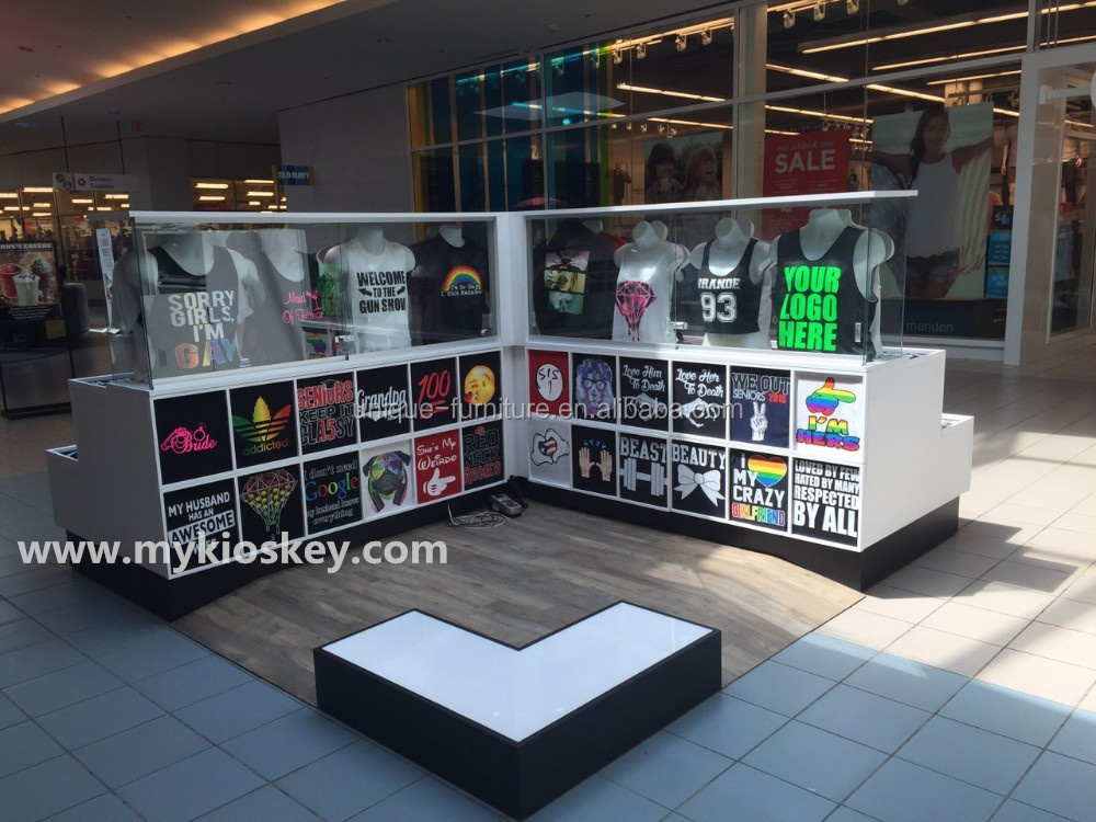 high end t shirt kiosk in mall for t shirt printing on