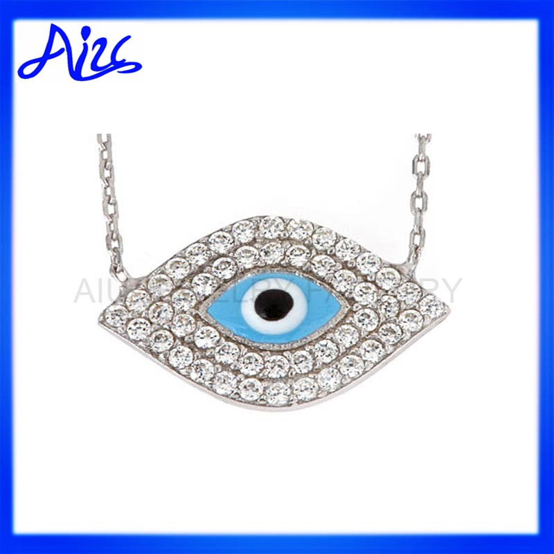 zircon silver enamel turkish evil eye charm pendant