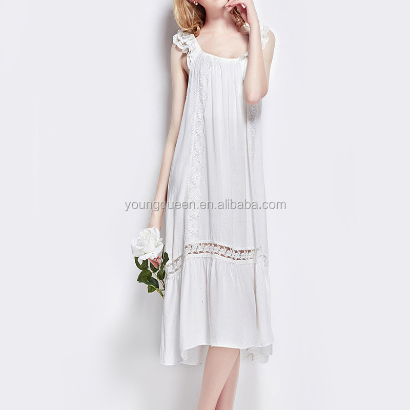 ZK06 Summer Cotton silk pajamas white sweet bow lace Nightgown genuine Princess women sleeping dress