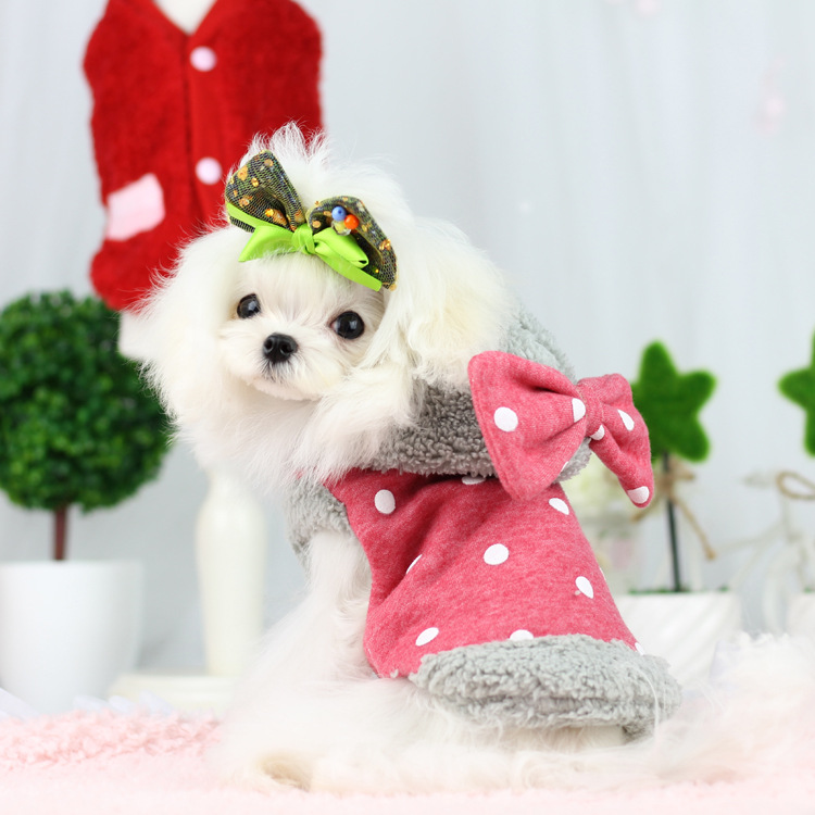 Lovable Bowknot Winter Dog Coat Dog Apparel Wholesale Dogs Clothing