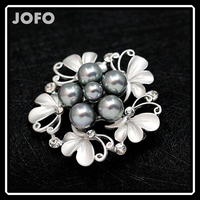 Vintage Style Black Pearl Crystal Diamante Party Brooch Pins For Women DBHB0009
