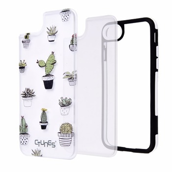 Cactus DIY TPU Soft Frame Cell Phone Case For iPhone 7,Interchangeable Back Plate for iPhone 7 Case