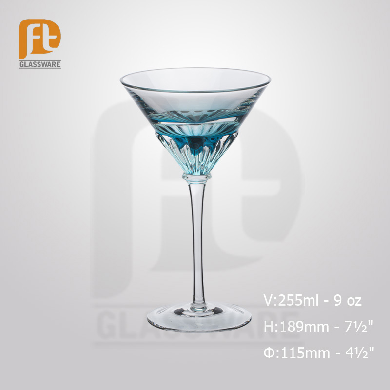 2016 Factory Blue Green Belt Cocktail Martini Glass Cheap wholesale