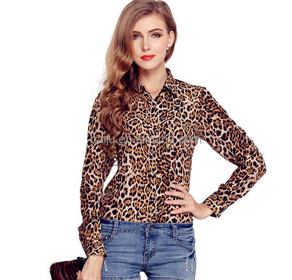 Wholesale latest fashion fashion cutting blouse design with leopard-printed
