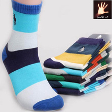 New Men's Business Style Striped Crew Quarter 80% Cotton Socks