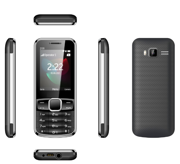 Basic Phone 2.4inch Spreadtrum Chipset 32MB+32MB Storage Customized Phone 208