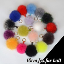 Manufacturer supply fluffy bag charm real fox fur pom pon ball colourful fur ball keychains