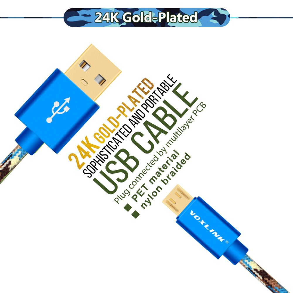 Voxlink high quality Camouflage Braided Gold Plug data cable micro usb cable