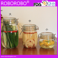 Glass storage jar with metal clip with silicon seal ring