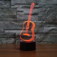 FS-3272 3d guitar custom made 3D Night Light 7 color change LED Acrylic Illusion lamp Touch Button