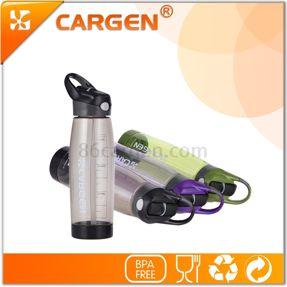 Carabiner school trip flip straw plastic water bottle