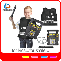 7PCS kids office police play set toys, uniform role play costume police officer play with plastic accessories