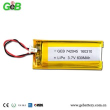 742045 3.7V 630mah lipo rechargeable Lithium Ion Polymer battery