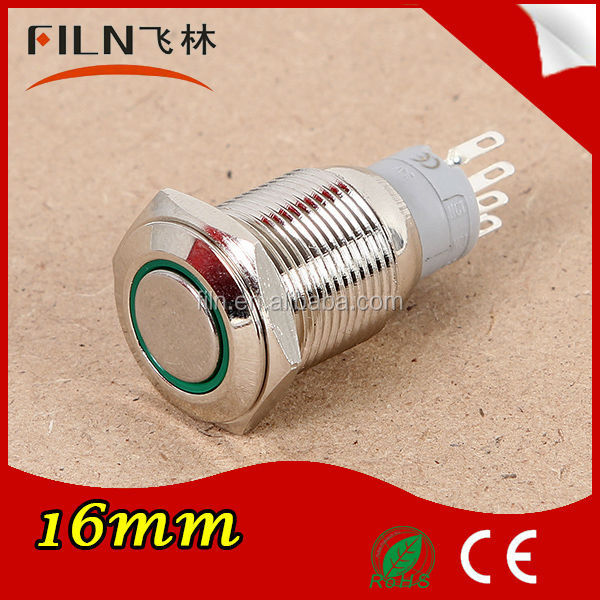Mounting hole 16mm LED illuminated stainless steel latching miniature push button switch